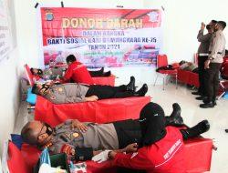 Hari Bhayangkara Ke 75, Polda Sulteng Sumbang Darah di PMI