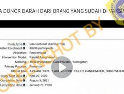 [Hoaks atau Fakta] Bahaya Donor Darah Dari Orang yang Sudah Divaksin Covid-19
